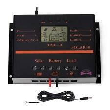 80A PWM Solar Panel Charge Controller Regulator 12V/24V MPPT+ Extension Cable AD