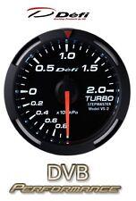 Defi Racer 52mm Car Boost 2 Bar Gauge - White - JDM Style Stepper Motor