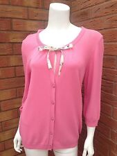 MAX MARA STUDIO PINK 3/4 SLEEVE FINE KNIT CARDIGAN RETAIL £180 SIZE L (UK 14)