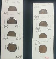 1909 Last Indian Cent & 1909 VDB First Lincoln Cent -- 2 Coin Lot