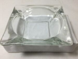 "Vintage HEAVY CLEAR GLASS ASHTRAY 4 Slots 4 1/2"" Square Bar"