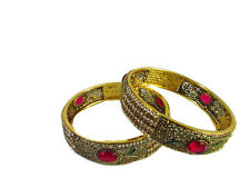 Indian Traditional Gold Plated CZ 2 PS Bangles Bollywood Bridal Ethnic Jewelry