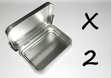 2 X 8-oz Rectangular Hinged Survival Metal Tin Box Container - Use For Crafts