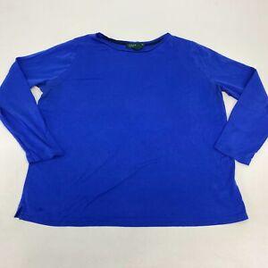 Lauren Ralph Lauren T Shirt Women's 2X Long Sleeve Blue Crew Neck Cotton Blend