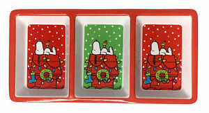 """Peanuts 3 Section Melamine Serving Tray Snoopy Charlie Brown Christmas 12"""" x 6"""""""