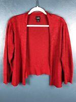 Eileen Fisher Womens Medium Cardigan Sweater Open Front Red Long Sleeve Linen