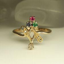Ring mit Diamant, Saphir, Rubin und Smaragd Besatz in 585/14K Rosegold