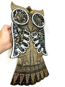"""Wood Carved Owl With Mosaics Glass Detail Wall Hanging Art By ZENDA IMPORTS 19"""""""