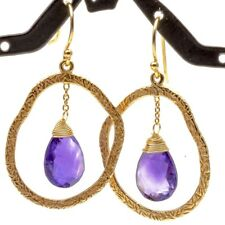 Amethyst  Earrings Sterling Silver 1 3/4 Inch Dangle 14K Gold Overlay Pear Shape