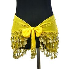Belly Dance Silk Dense Coin Count Wrap Hip Scarf Belt - US Seller
