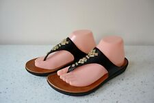 FITFLOP BON 11 CRYSTAL BLACK LEATHER/LEATHER LINED TOE POST SANDALS UK 7 US 9
