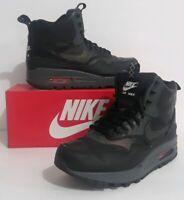 Womens Nike Air Max 1 Mid Sneakerboot WP Reflective Black Crimson 95 807307 001