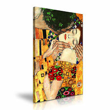 Gustav KLIMT IL BACIO Zoom in tela incorniciato stampa 20x30 POLLICI/50x76cm