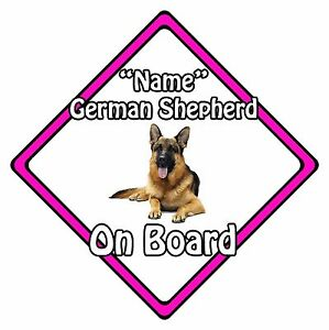 Personalised Dog On Board Car Safety Sign - German Shepherd On Board Pink