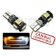 Con 10-on LUMINOSO LED CANBUS TARGA 501 W5W T10 5 SMD Lampadine Bianco