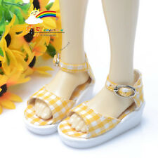 Doll Shoes Yellow Checker Wedge Heel Sandals For MSD Dollfie 1/4 BJD Dolls