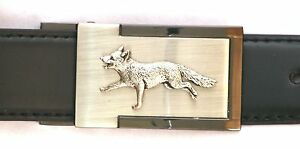 Fox Running Belt Buckle and Leather Belt in Gift Tin Ideal Hunting Present 142