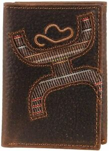 Hooey Mens Signature Leather Embroidered Logo Rodeo Tri-fold Wallet, Brown