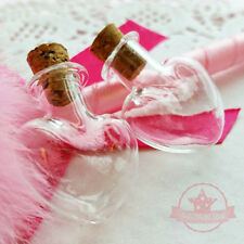 2 pcs Heart Miniature Glass Bottle Vials w/ corks Jar Dollhouse Food Craft