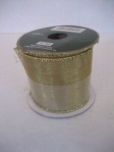 All the Trimmings Wide Gold Wired Silk Mesh Ribbon 3yds. x 2 1/2in.W. NWIP