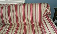 Pottery Barn Large Sofa Loose Fit Slipcover Red Tan Stripes Box Pleat Skirt