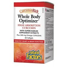 Natural Factors Curcumin WHOLE BODY OPTIMIZER Fish Oil Omega 3 HEART BRAIN 60ct