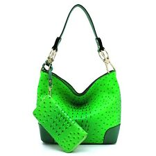 Large Hooked Ostrich Croco Embossed Vegan Faux Leather Hobo Shoulder Bag Classic