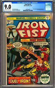 IRON FIST #1 - CGC 9.0 - OW/WP - VF/NM 1975 - IRON MAN GIL KANE COVER
