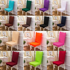 14 Colours Solid Stretch Dining Chair Cover Removable Slipcover Dinning Cover