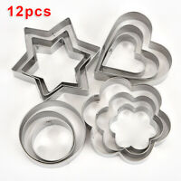 12Pcs Stainless Steel Metal Biscuit Star Cookie Cutter Pastry/Baking Mold Set