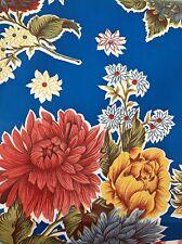 Oil Cloth Yardage BTY Tablecloth Craft Fabric BLUE MUMS MOST POPULAR