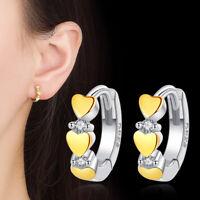 925 Sterling Silver Hoop Huggie Earrings Crystal 3 Gold Heart Women Jewelry