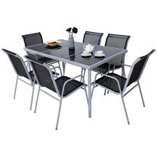 7 Piece Steel Table Chairs Dining Set Patio Furniture Outdoor Glass Table Top