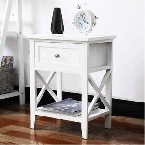 White Bedside Table Cabinet Nightstand Side Drawer & Shelf Storage Bedroom