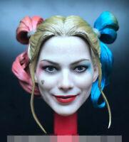 "1/6 Scale Female Joker Head Sculpt Harley Quinn Model Fit 12"" Action Figure"