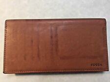 FOSSIL Checkbook /Credit Card /Address Book /Holder Folder Brown LEATHER