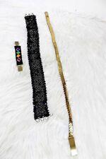 Vintage Gold Stretch Belt Black Sequin Belt and Cincher for Oversized Dresses