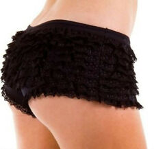FRILLY One Size RUFFLE HOT PANTS KNICKERS FRILL PANTIES BOY SHORTS BURLESQUE
