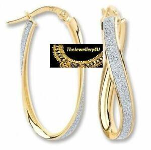 9CT HALLMARKED YELLOW GOLD MOONDUST INLAID OVAL TWIST 30 MM HOOP EARRINGS