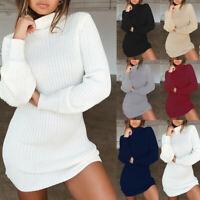Women Long Sleeve Jumper Knitted Turtleneck Sweater Loose Top Mini Dress UK