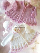 (642) DK Knitting Pattern for Baby Matinee Coats & Hats, Premature/ 12-20''