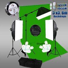 Photo Studio Softbox Lighting Video Soft Box Light Boom Stand Green Backdrop Kit