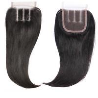 3 Parts Unprocessed Brazilian Virgin Human Hair Lace Closure Straight 3.5x4inch