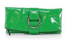 HOBO INTERNATIONAL TINA FOLDOVER BUCKLE CLUTCH BAG GREEN PATENT LEATHER HANDBAG