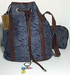 New 3 pc denim Bucket bag Shoulder / cross-body Bag satchel matching pouch