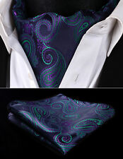 RF427GS Navy Blue Green Paisley Men Silk Cravat Ascot Tie Handkerchief Set