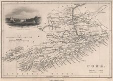 Antique CORK county map by Alfred ADLARD. Ireland 1835 old chart