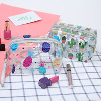 KF_ Women Clear Cactus Pineapple Makeup Bags Cosmetic Storage Bag with Strap N
