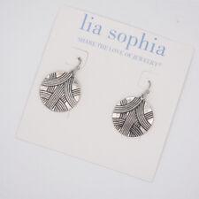 Lia sophia jewelry vintage silver plated pattern circle drop hoop dangle earring