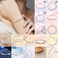 925 Silver Heart Beads Pixiu Bracelet Bangle Chain Charm Women Men Jewelry Gifts